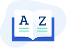 illustration of an open book with an 'A' on the left page and 'Z' on the right page